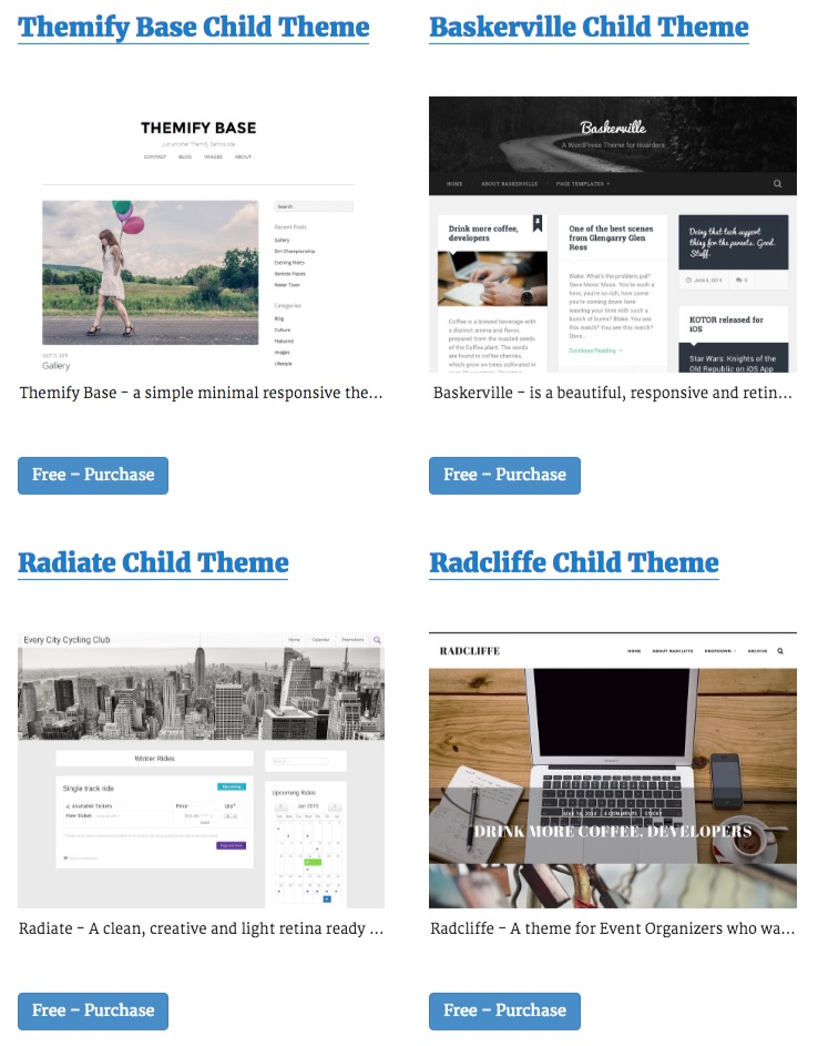 4 Child Themes Launched in October by Espresso Themes